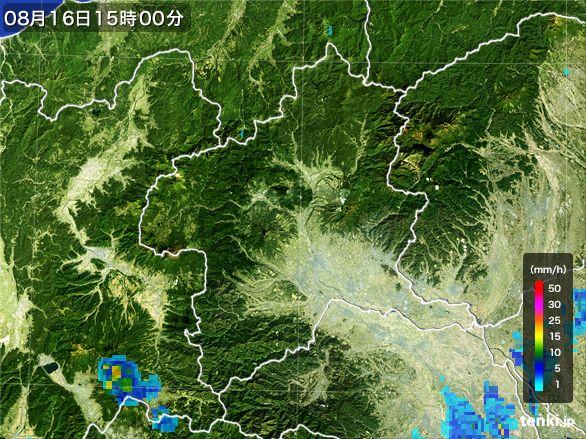 群馬県の雨雲レーダー(2016年08月16日)