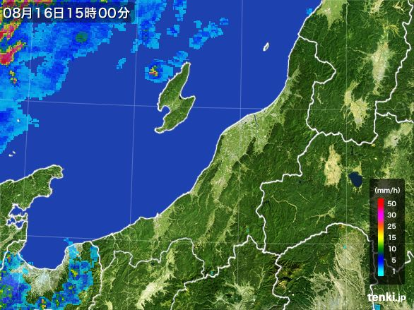 新潟県の雨雲レーダー(2016年08月16日)