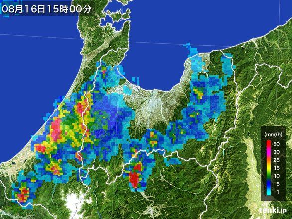 富山県の雨雲レーダー(2016年08月16日)
