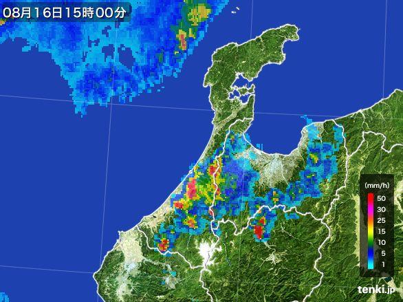 石川県の雨雲レーダー(2016年08月16日)