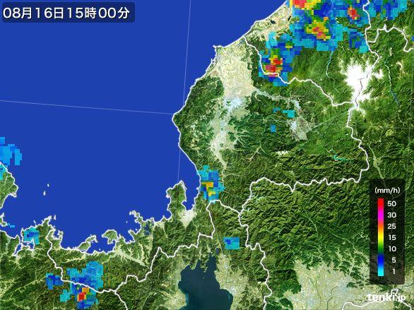 福井県の雨雲レーダー(2016年08月16日)