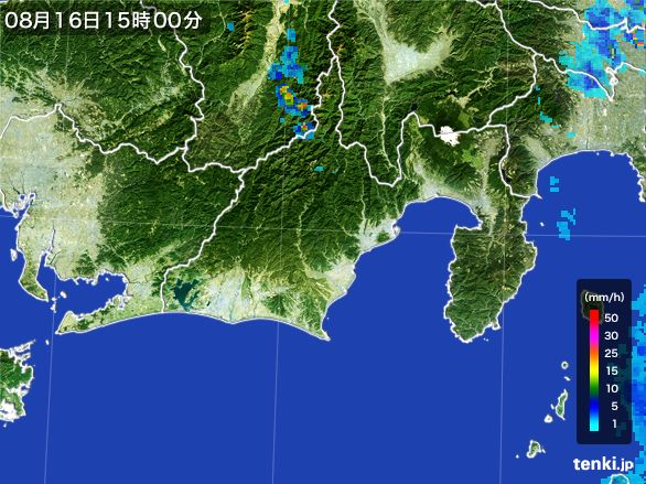 静岡県の雨雲レーダー(2016年08月16日)