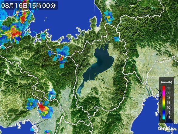 滋賀県の雨雲レーダー(2016年08月16日)