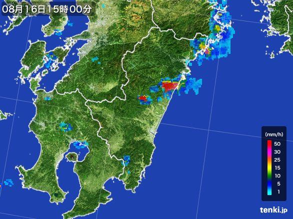 宮崎県の雨雲の動き(2016年08月16日)
