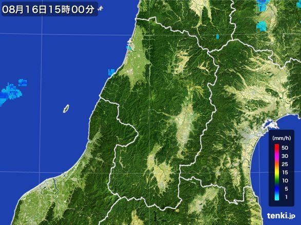 山形県の雨雲レーダー(2016年08月16日)