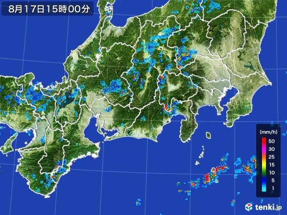 東海地方の雨雲レーダー(2016年08月17日)