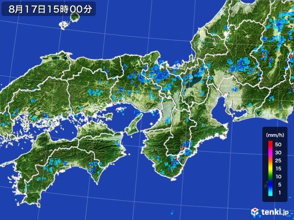 近畿地方の雨雲レーダー(2016年08月17日)