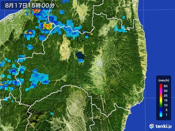 福島県の雨雲レーダー(2016年08月17日)