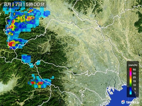埼玉県の雨雲レーダー(2016年08月17日)