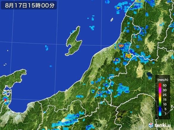 新潟県の雨雲レーダー(2016年08月17日)