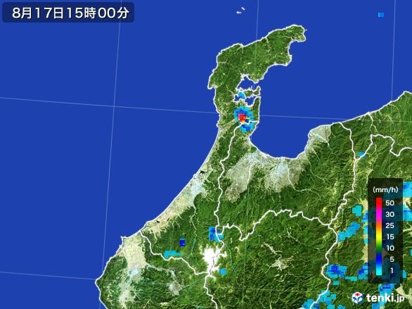 石川県の雨雲レーダー(2016年08月17日)