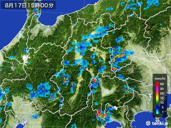 長野県の雨雲レーダー(2016年08月17日)