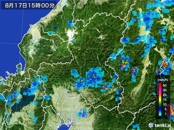 岐阜県の雨雲レーダー(2016年08月17日)