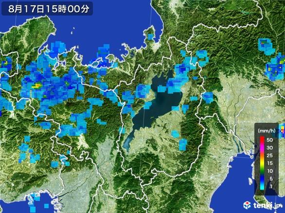 滋賀県の雨雲レーダー(2016年08月17日)