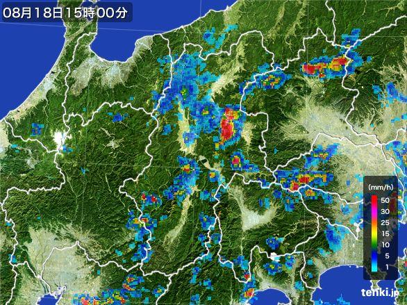 長野県の雨雲レーダー(2016年08月18日)