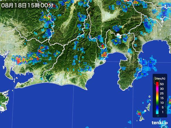 静岡県の雨雲レーダー(2016年08月18日)