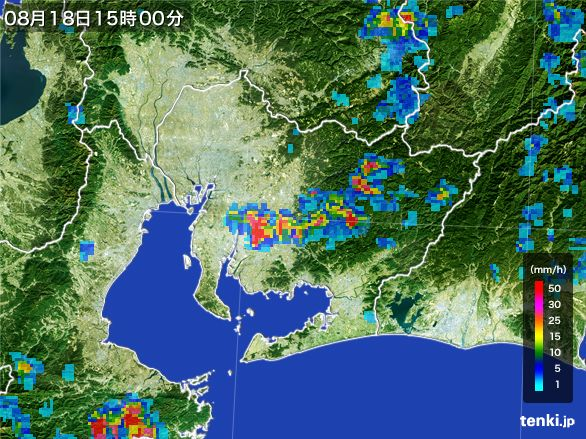 愛知県の雨雲レーダー(2016年08月18日)