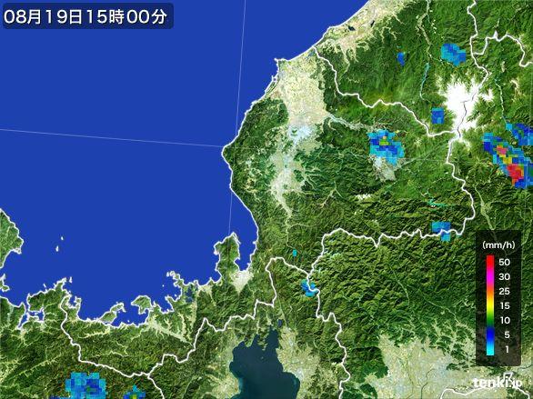 福井県の雨雲レーダー(2016年08月19日)