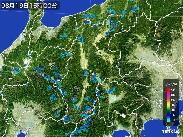 長野県の雨雲レーダー(2016年08月19日)
