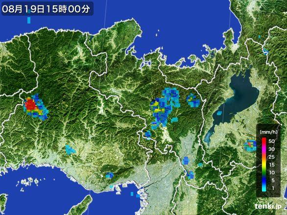 京都府の雨雲レーダー(2016年08月19日)