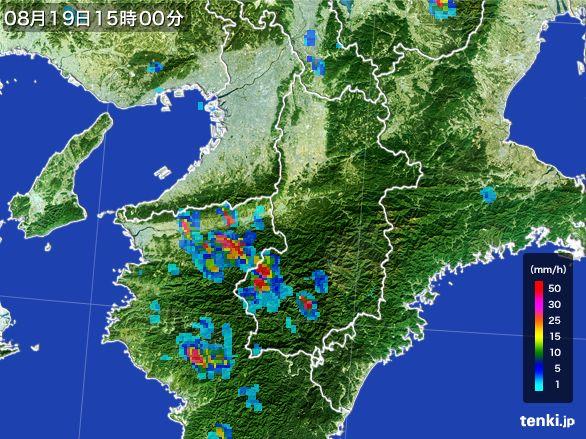 奈良県の雨雲レーダー(2016年08月19日)
