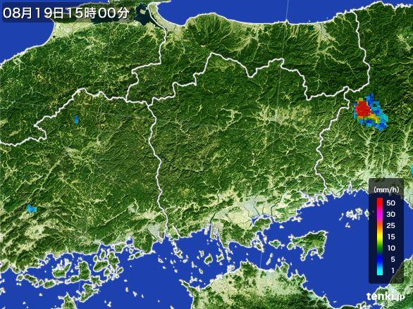 岡山県の雨雲レーダー(2016年08月19日)