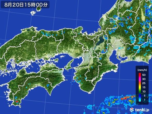 近畿地方の雨雲レーダー(2016年08月20日)