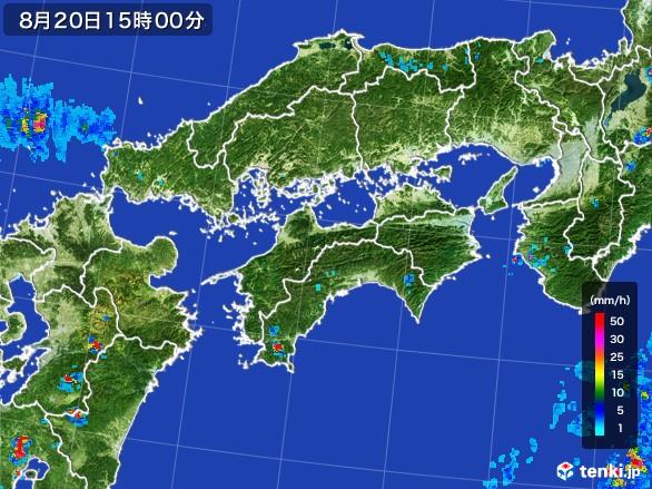 四国地方の雨雲レーダー(2016年08月20日)