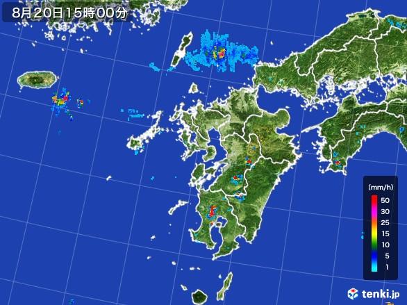 九州地方の雨雲レーダー(2016年08月20日)