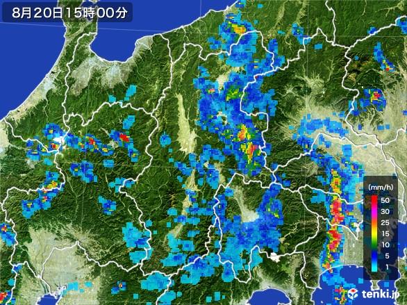 長野県の雨雲レーダー(2016年08月20日)