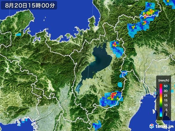 滋賀県の雨雲レーダー(2016年08月20日)