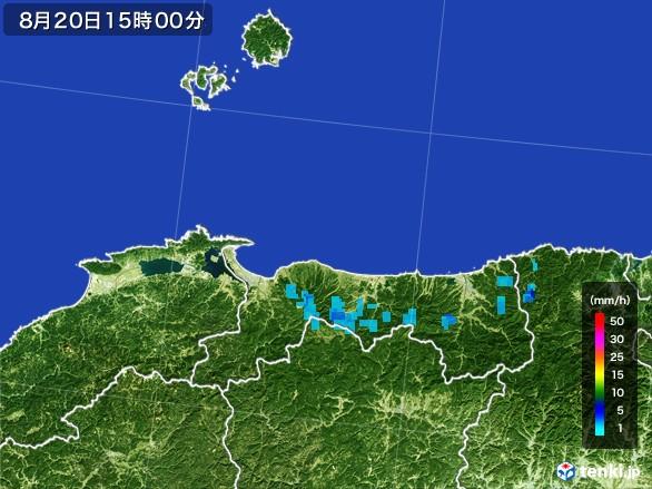 鳥取県の雨雲レーダー(2016年08月20日)