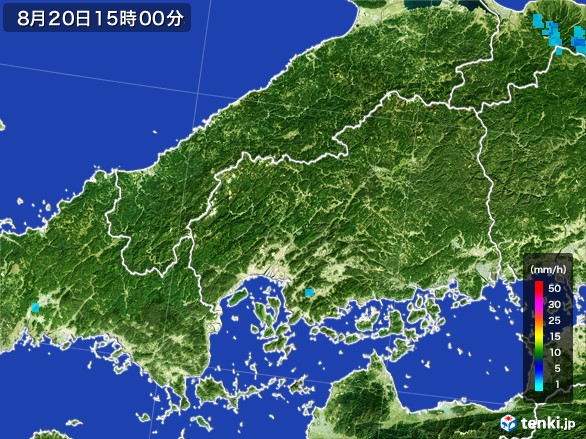広島県の雨雲レーダー(2016年08月20日)