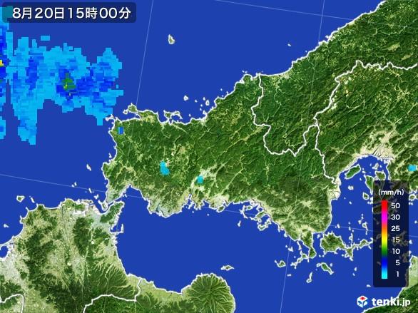 山口県の雨雲レーダー(2016年08月20日)