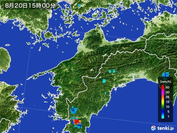 愛媛県の雨雲レーダー(2016年08月20日)