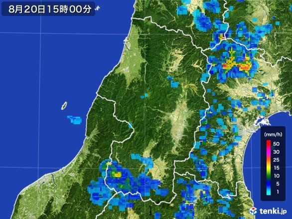 山形県の雨雲レーダー(2016年08月20日)