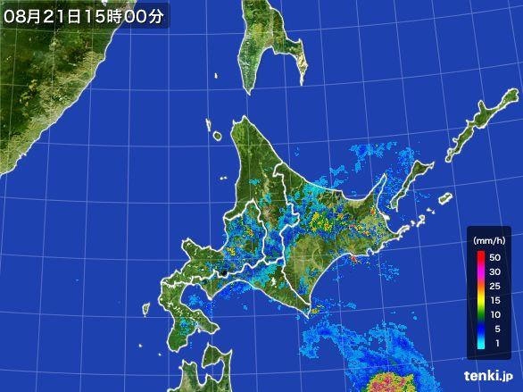 北海道地方の雨雲レーダー(2016年08月21日)