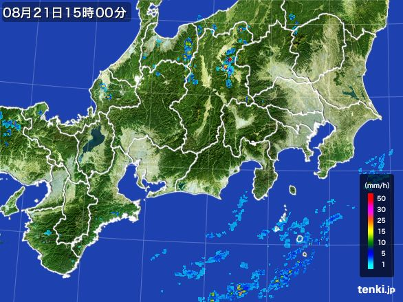東海地方の雨雲レーダー(2016年08月21日)