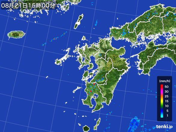九州地方の雨雲レーダー(2016年08月21日)