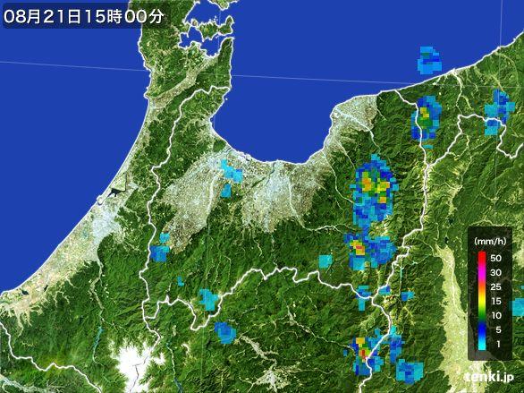 富山県の雨雲レーダー(2016年08月21日)
