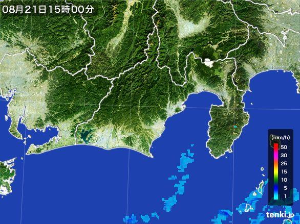 静岡県の雨雲レーダー(2016年08月21日)