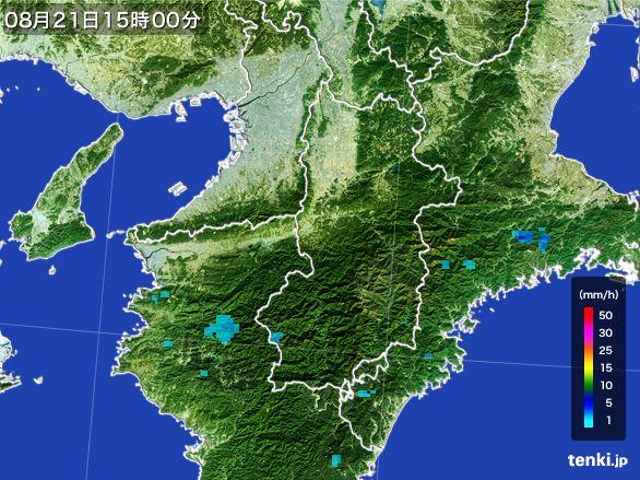 奈良県の雨雲レーダー(2016年08月21日)