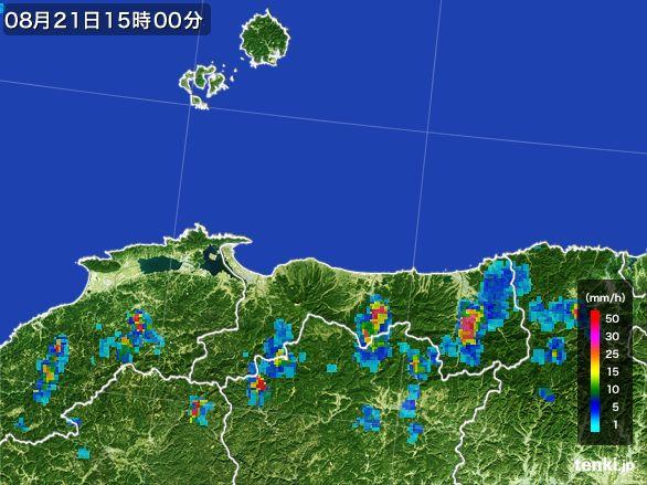 鳥取県の雨雲レーダー(2016年08月21日)