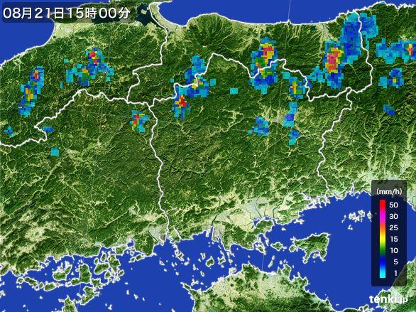 岡山県の雨雲レーダー(2016年08月21日)