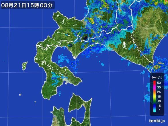 道南の雨雲レーダー(2016年08月21日)