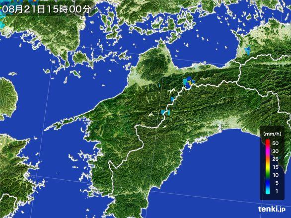 愛媛県の雨雲レーダー(2016年08月21日)
