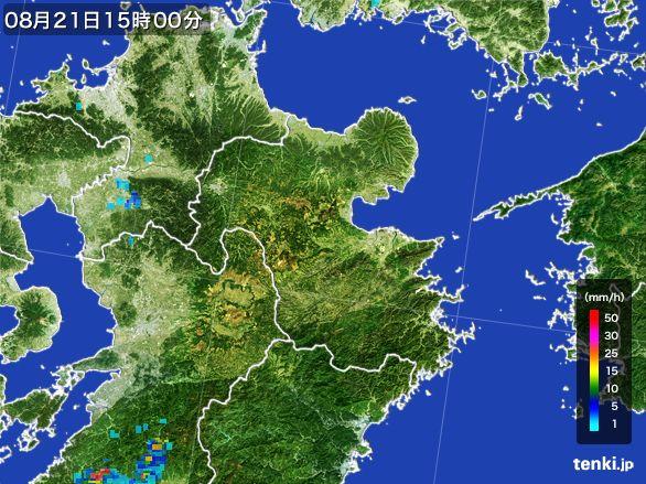 大分県の雨雲レーダー(2016年08月21日)