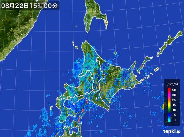 北海道地方の雨雲レーダー(2016年08月22日)