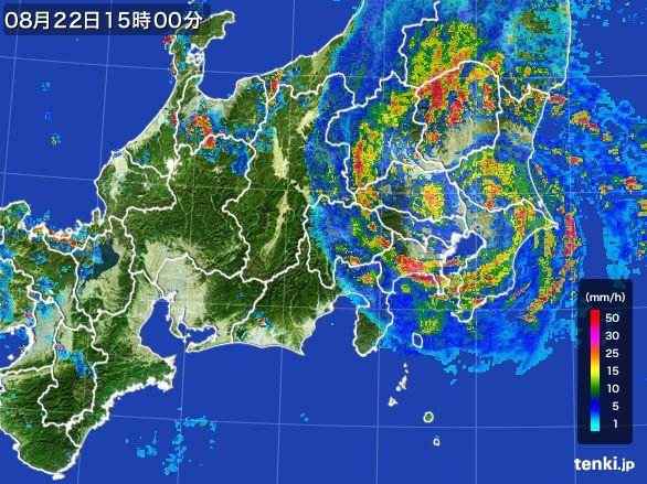 関東・甲信地方の雨雲レーダー(2016年08月22日)