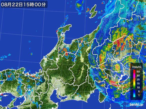 北陸地方の雨雲レーダー(2016年08月22日)